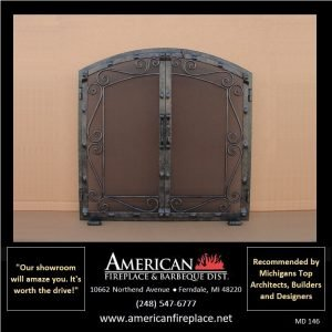ornate steel arched Mesh Door Fireplace Screen
