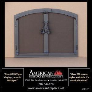 heavy duty steel arched Mesh Door Fireplace Screen with oversize handles