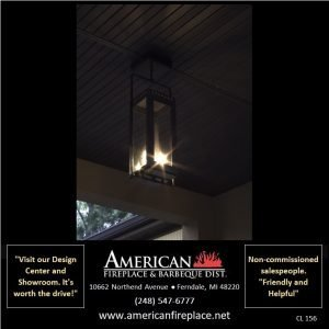 Outdoor ceiling Gas Lamp lights the patio