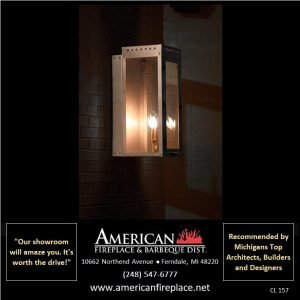Outdoor copper Gas lamp shines brightly