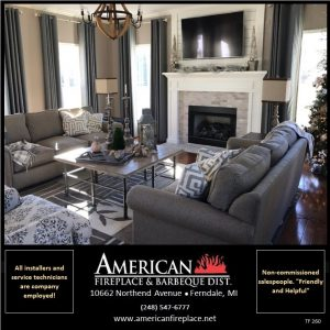 Traditional Fireplace insert in a modern living room with tv, painted mantel and christmas decorations