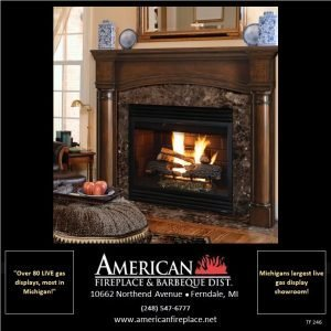 Traditional Mahogany Fireplace Mantel with wood burning fireplace and Egyptian marble surround