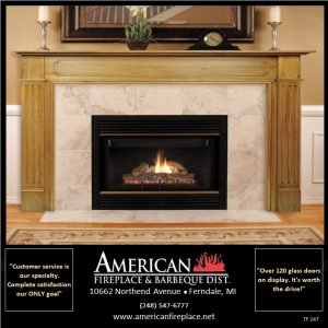 Traditional gas Fireplace with marble surround and stained wood fireplace mantel