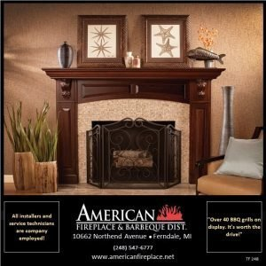 Traditional gas Fireplace with walnut fireplace mantel and decorative folding screen