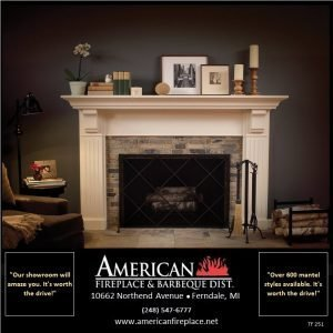 Painted fireplace mantel, traditional fireplace with standing lattice over mesh screen, fireplace tools, wood basket